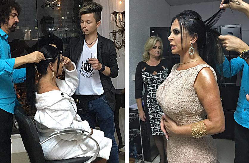 Gretchen se preparando com o hair stylist Primo Bonafini e Tiago Souza