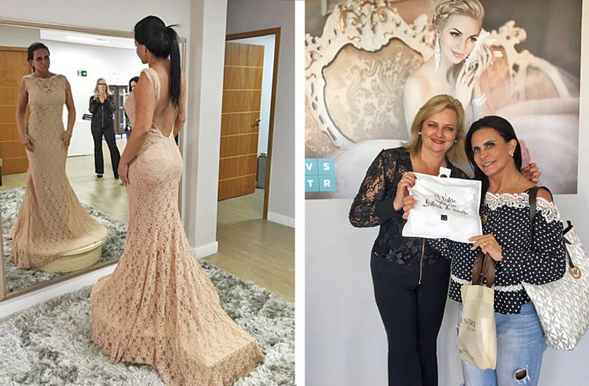à esquerda,durante escolhe do vestido e à direita Gretchen recebe de Mirian Faian a lingerie Vestire de presente, como todas as nossas noivas.