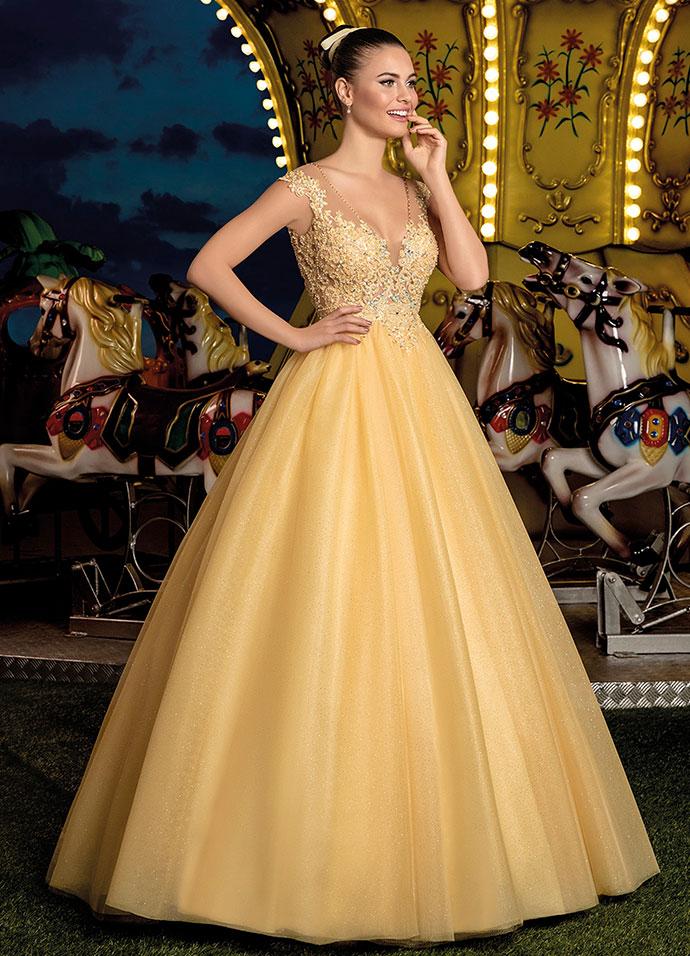 Vestido de Debutante 2 em 1 Amarelo